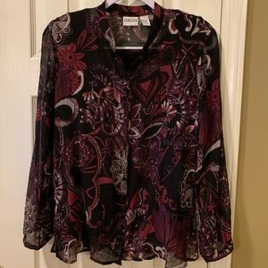 Chico's silk blouse, black /burgundy, size 1, EUC